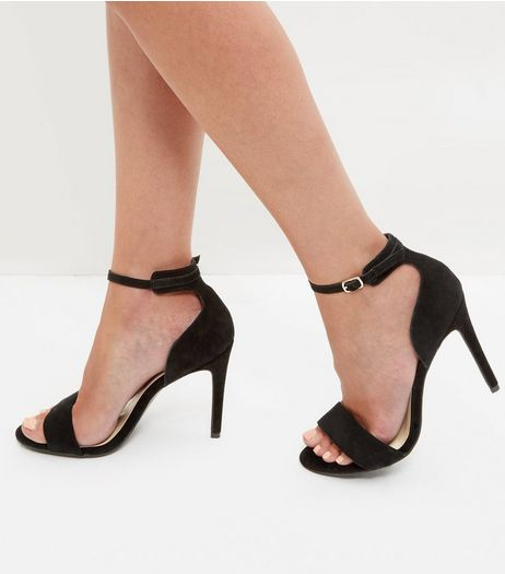 Black Suede Ankle Strap Heeled Sandals | New Look