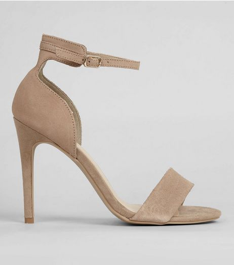 Mink Suede Ankle Strap Heeled Sandals | New Look