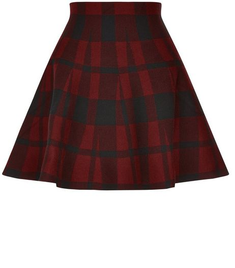 Teens Red Check Jacquard Skater Skirt | New Look