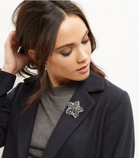 Dark Grey Flower Brooch | New Look