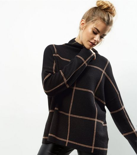 Tall Black Check Turtle Neck Jumper | New Look