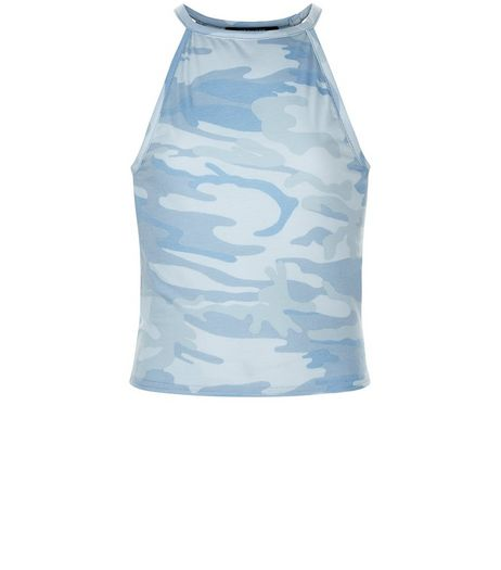 Teens Blue Camo Print Sleeveless Top | New Look