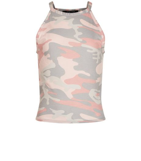 Teens Pink Camo Print Cami | New Look