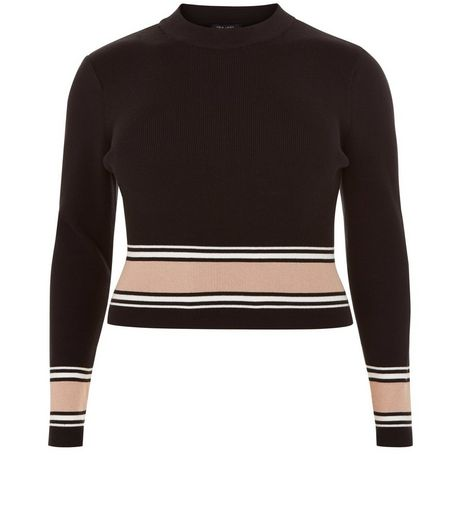 Curves Black Stripe Trim Long Sleeve Top | New Look