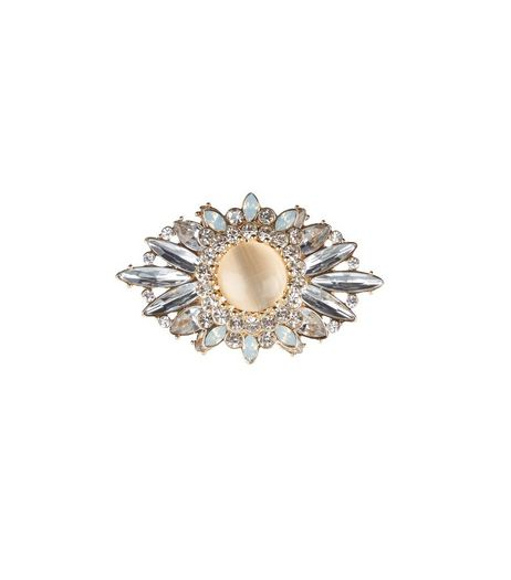 Mid Pink Oval Diamante Brooch | New Look