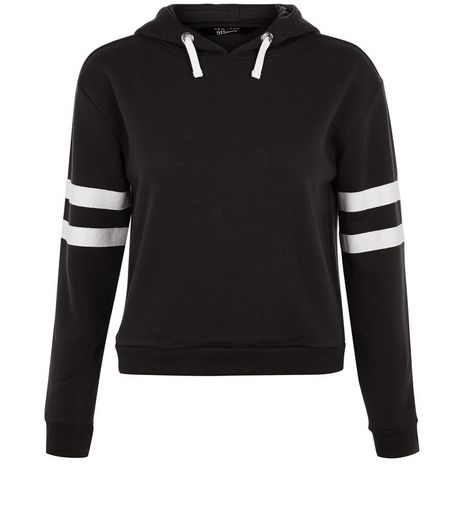 Teens Black Contrast Trim Hoodie | New Look