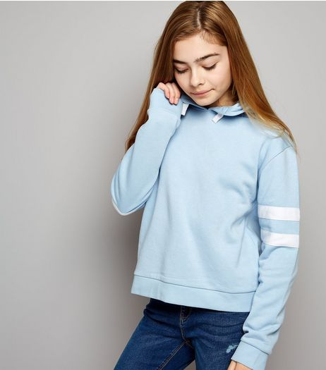 Teens Pale Blue Stripe Sleeve Hoodie | New Look