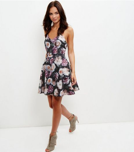 Black Floral Print V Neck Skater Dress  | New Look