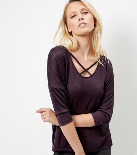 Purple Fine Knit Cross Front Top | New Look