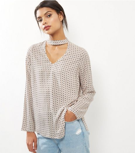 Pink Spot Print Choker Neck Long Sleeve Top | New Look