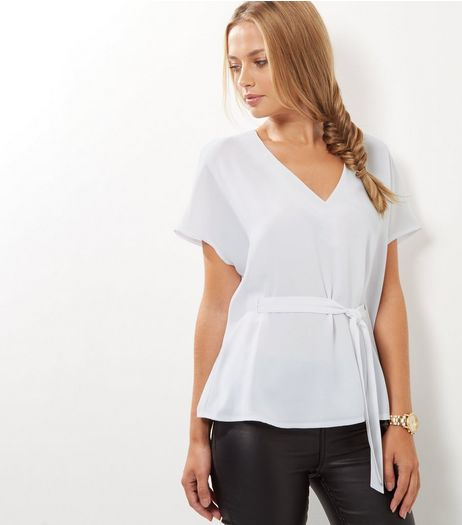 Cream Tie Waist V Neck Shell Top | New Look
