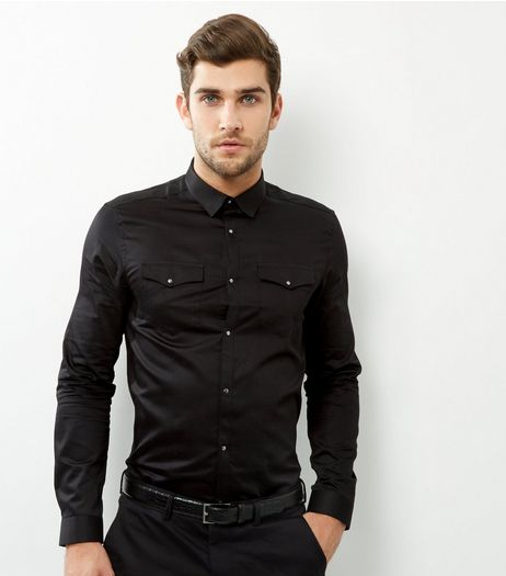 Black Long Sleeve Western Shirt | New Look