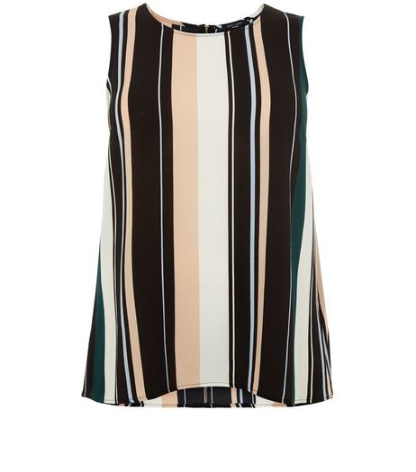Curves Black Stripe Sleeveless Top | New Look