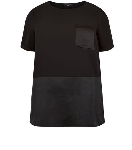 Curves Black Contrast Pocket T-Shirt | New Look