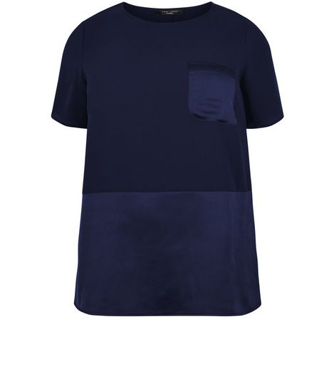 Curves Navy Contrast Pocket T-Shirt | New Look