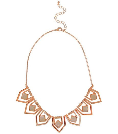 Rose Gold Glitter Stone Necklace | New Look