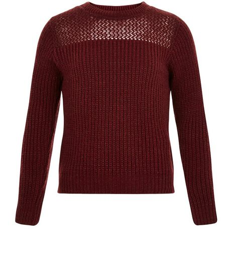 Girls Burgundy Mesh Panel Ribbed Jumper | New Look