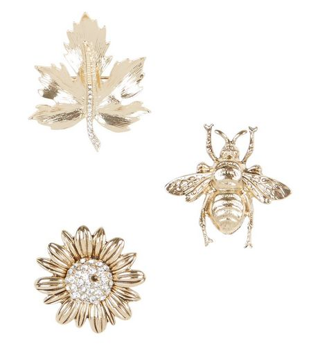 3 Pack Gold Bug and Flower Brooches | New Look
