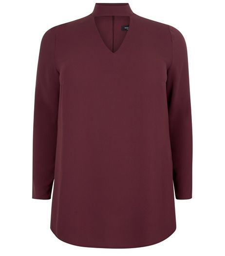 Curves Burgundy Choker Long Sleeve Blouse  | New Look
