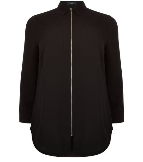 Curves Black Zip Front Shirt | New Look