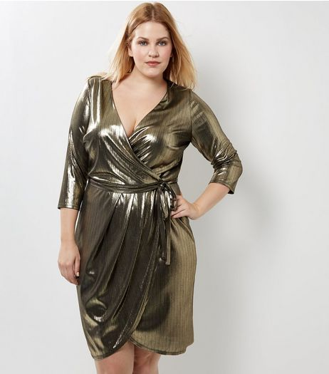Curves Gold Metallic Wrap Front Dress | New Look