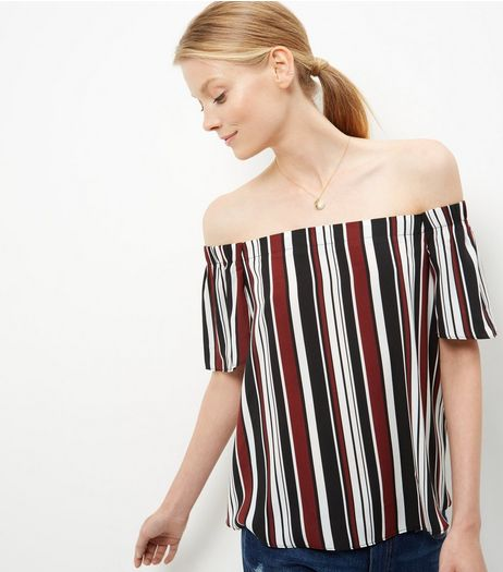 Red Stripe Bardot Neck Top  | New Look