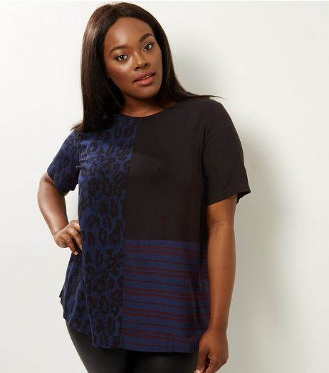 Curves Blue Contrast Stripe and Animal Print T-Shirt | New Look