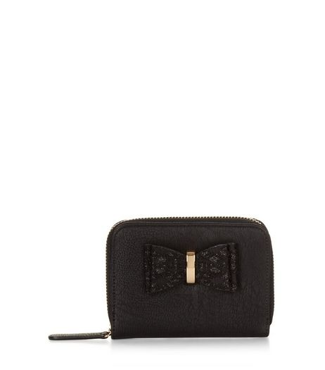 Black Lace Bow Zip Around Purse | New Look