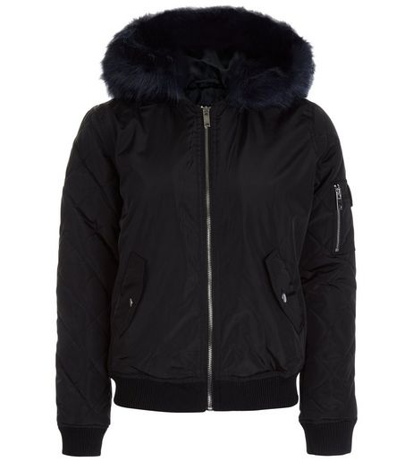 Teens Black Faux Fur Trim Hooded Bomber Jacket | New Look