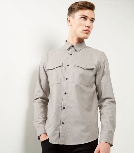 Mink Double Pocket Long Sleeve Shirt | New Look