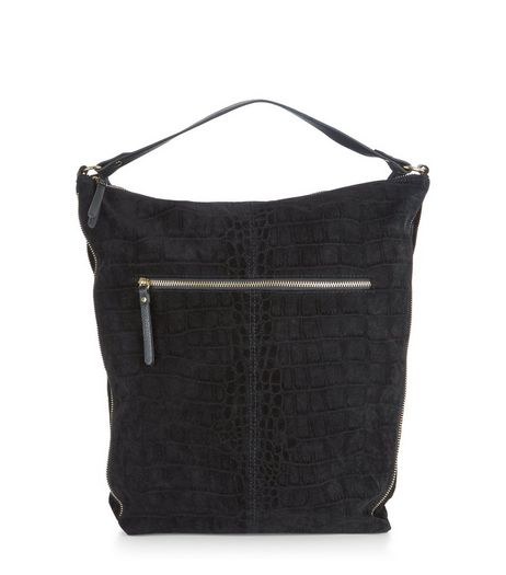 Black Croc Texture Shoulder Bag | New Look