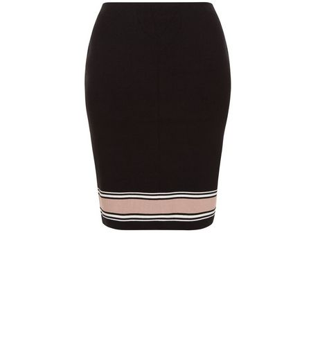Curves Black Stripe Trim Midi Skirt | New Look