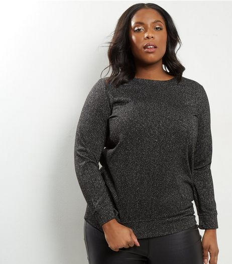 Curves Silver Metallic Sweater | New Look