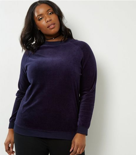 Curves Navy Velvet Sweater | New Look