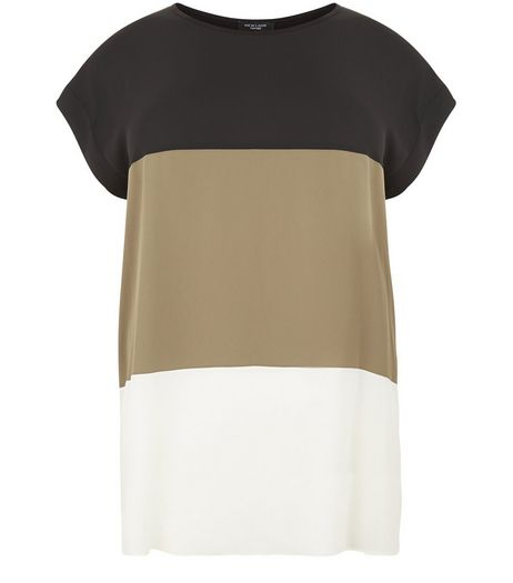 Curves Khaki Colour Block Longline T-shirt | New Look