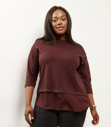 Curves Burgundy 2 in 1 3/4 Sleeve T-Shirt  | New Look