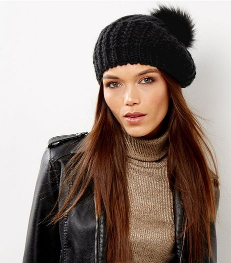 Black Faux Fur Pom Pom Beret | New Look