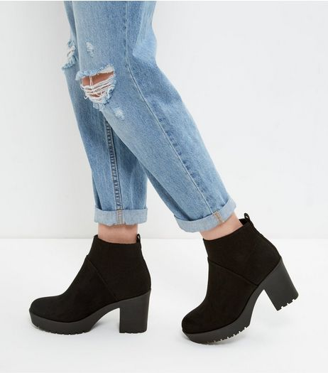 Black Suedette Elasticated Chunky Boots | New Look