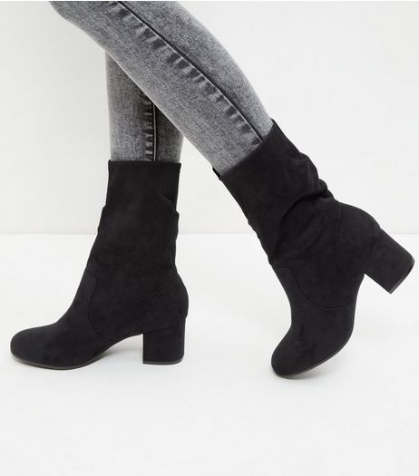 Black Suedette Heeled Calf Boot | New Look