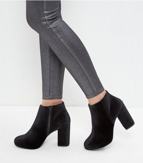 Black Velvet Block Heel Ankle Boots  | New Look