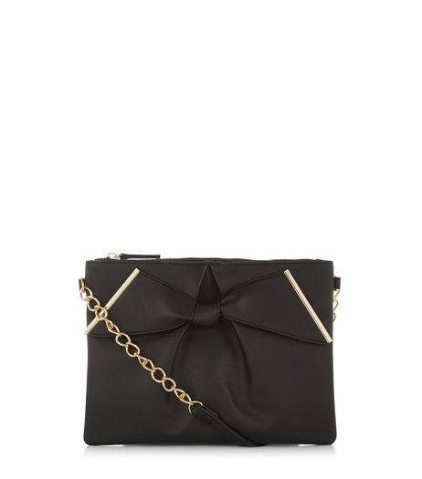 Black Leather-Look Bow Clutch | New Look