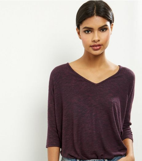 Burgundy V Neck Brushed 3/4 Sleeve Top | New Look