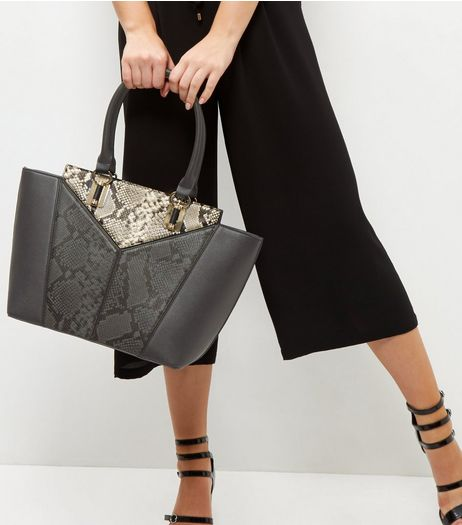 Black Snakeskin Print Panel Tote Bag | New Look