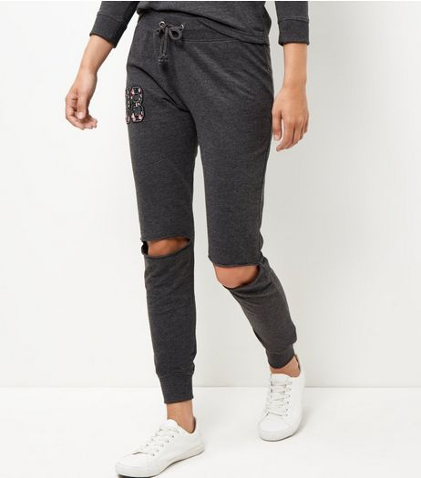 Dark Grey Ripped Knee Joggers | New Look