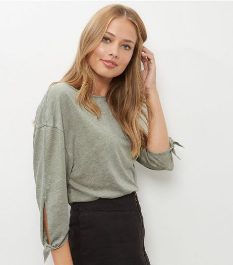 Olive Green Tie Sleeve T-Shirt  | New Look