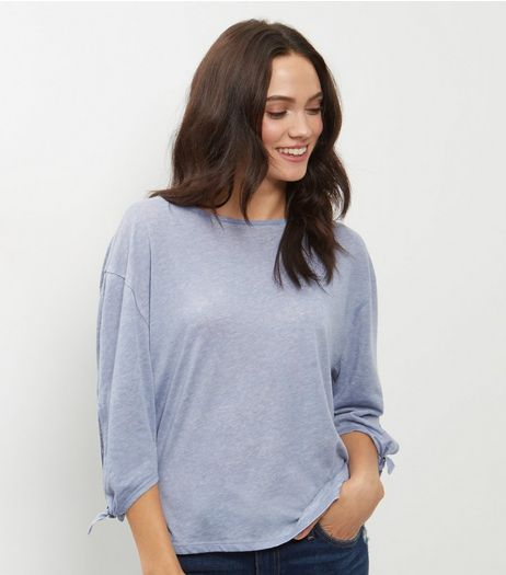 Pale Blue Tie Sleeve T-Shirt  | New Look