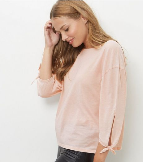 Mid Pink Tie Sleeve T-Shirt  | New Look