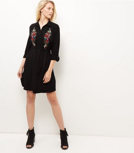 Black Embroidered Roll Sleeve Shirt Dress | New Look