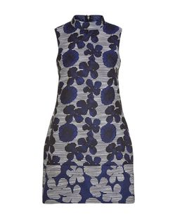 AX Paris Navy Embroidered Floral Print Dress | New Look