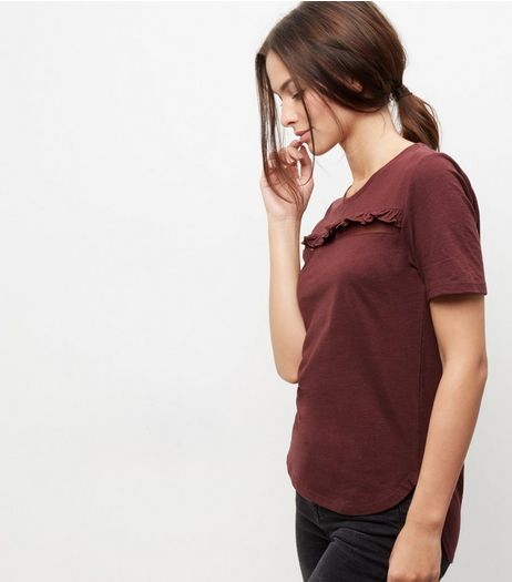 Burgundy Frill Trim Mesh Panel T-Shirt  | New Look